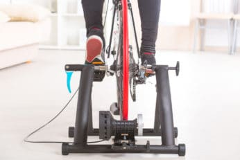close up of a bicycle trainer