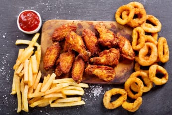 fried chicken, chips and onion rings