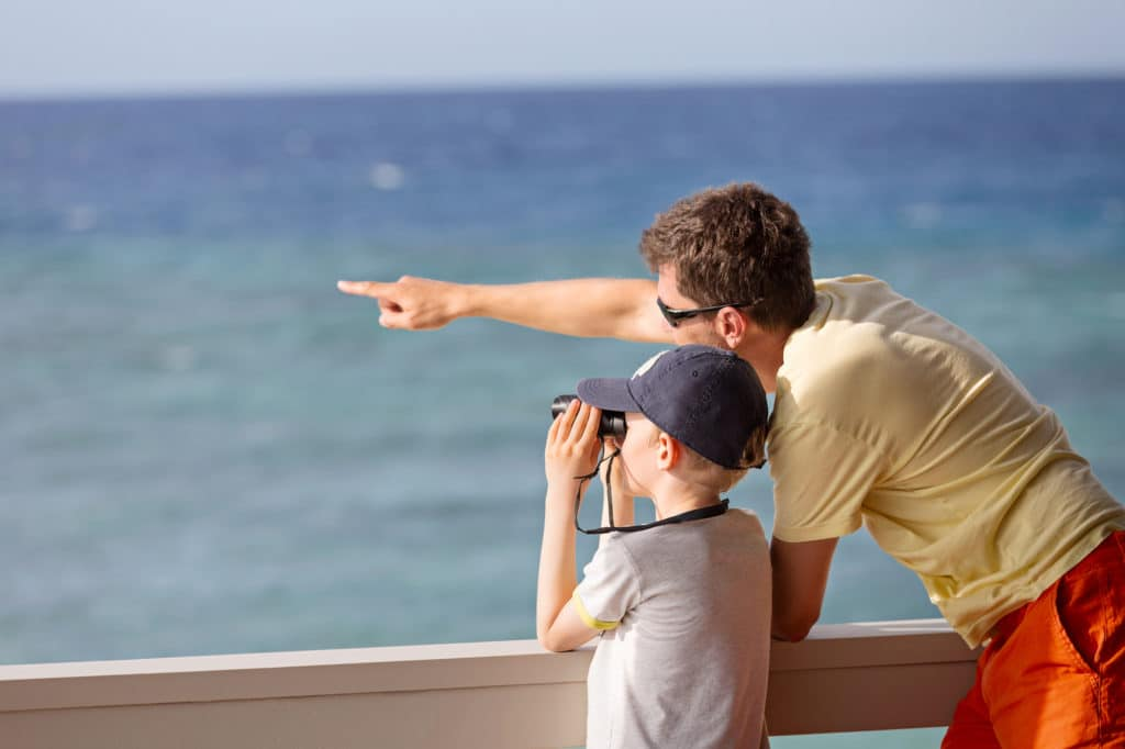 father and son looking out into the ocean