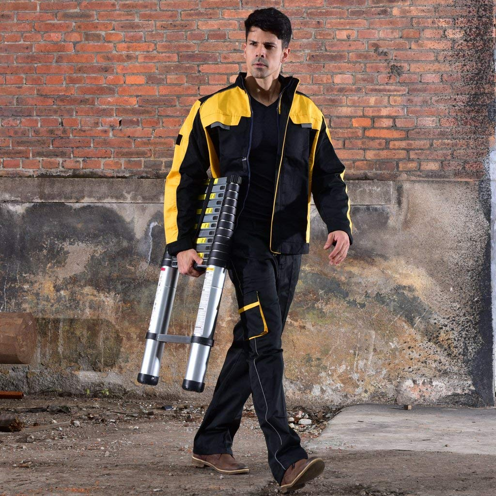 man carrying a collapsible ladder