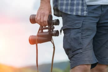 person holding a pair of binoculars