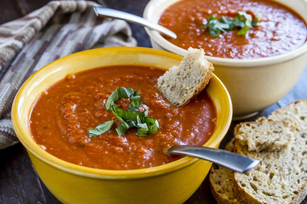 2 bowls of homemade chunky tomato basil soup