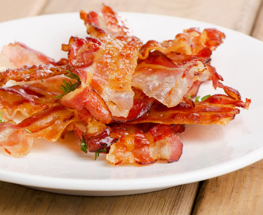 bacon strips on a plate