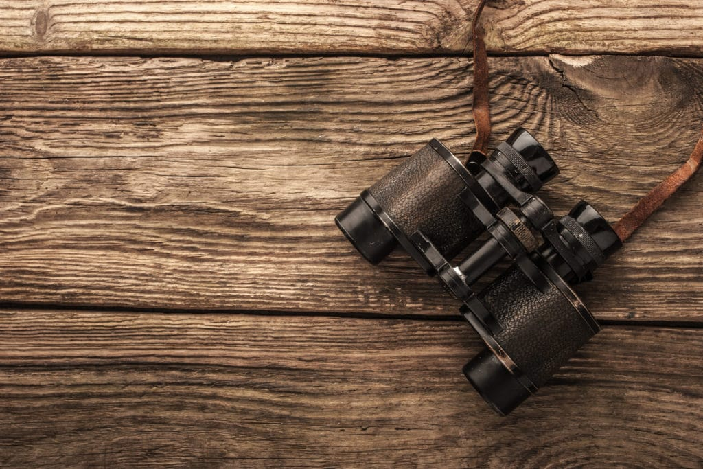 binoculars on a wooden surface