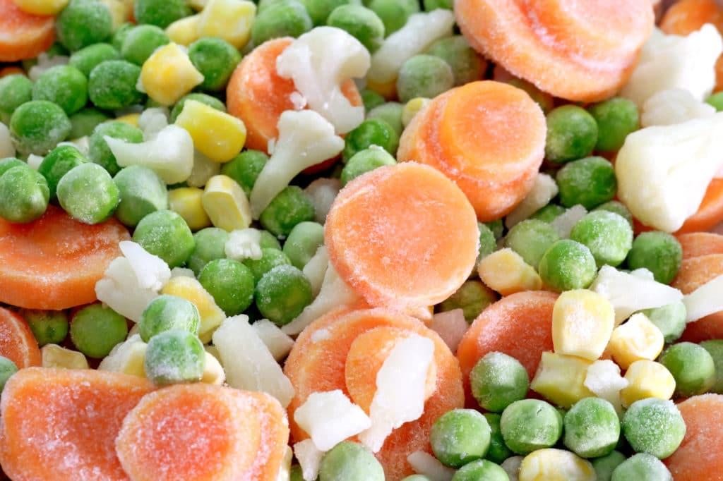 close-up of frozen vegetables