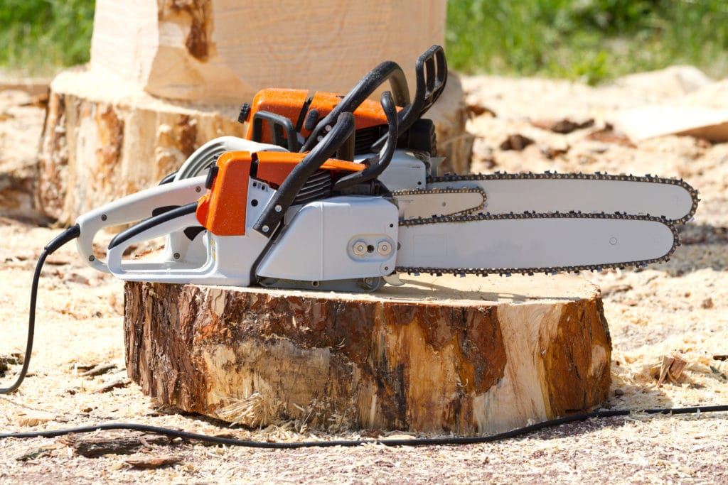 corded and cordless chainsaws on a tree stump