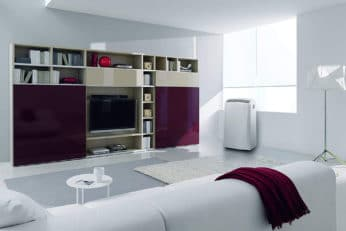 a mobile air cooler in the living room