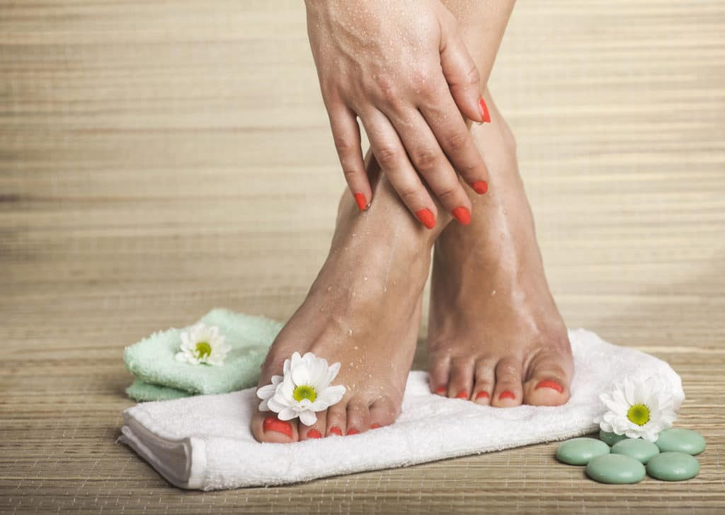 close-up of pampered feet