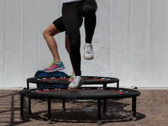 fitness exercise using a mini trampoline
