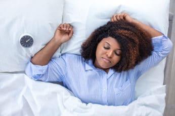 a lady sleeping comfortably