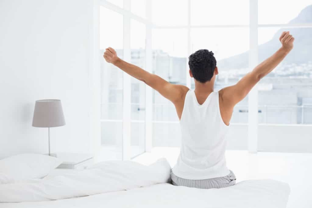 man wakes up refreshed