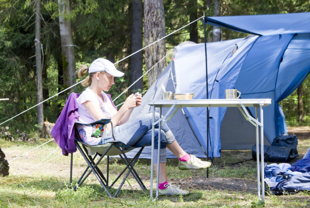 woman in a campsite