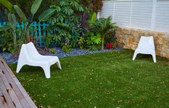 fake turf in the backyard
