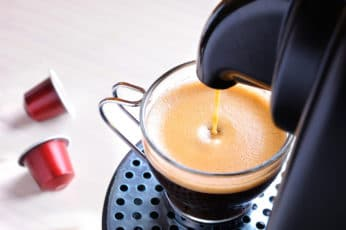 making a coffee drink