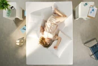 top view of girl in the bedroom