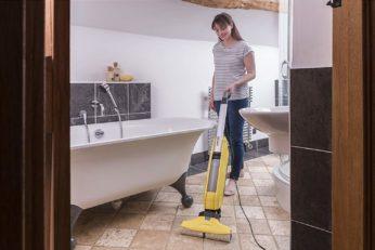 cleaning bathroom floor