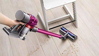 vacuuming a dirty floor