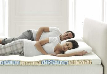 a couple sleeping on a bed
