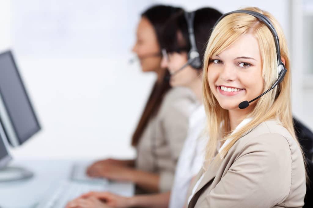 a smiling female customer service representative