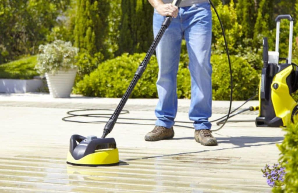 cleaning patio with karcher