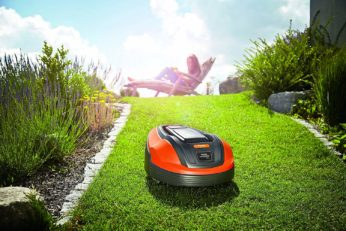a lawn robot at work