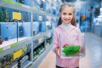 a little girl holding a fish tank with a plant