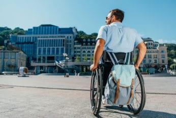 a man on a wheelchair