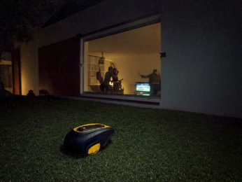 robot mower working at night