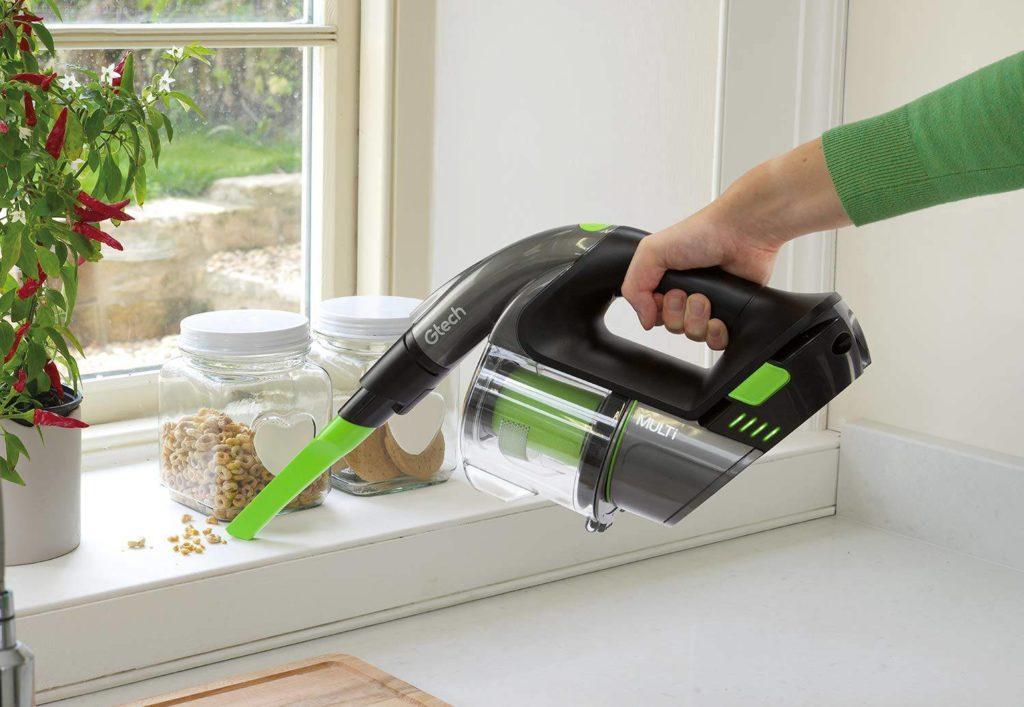 vacuuming crumbs