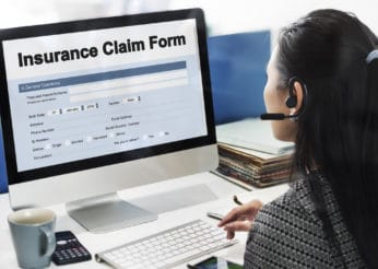 filling up an online insurance claim form