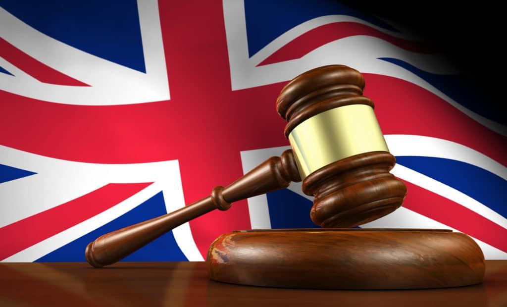 gavel and UK flag