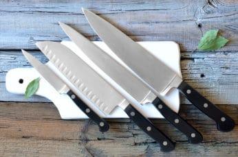 blades on cutting board
