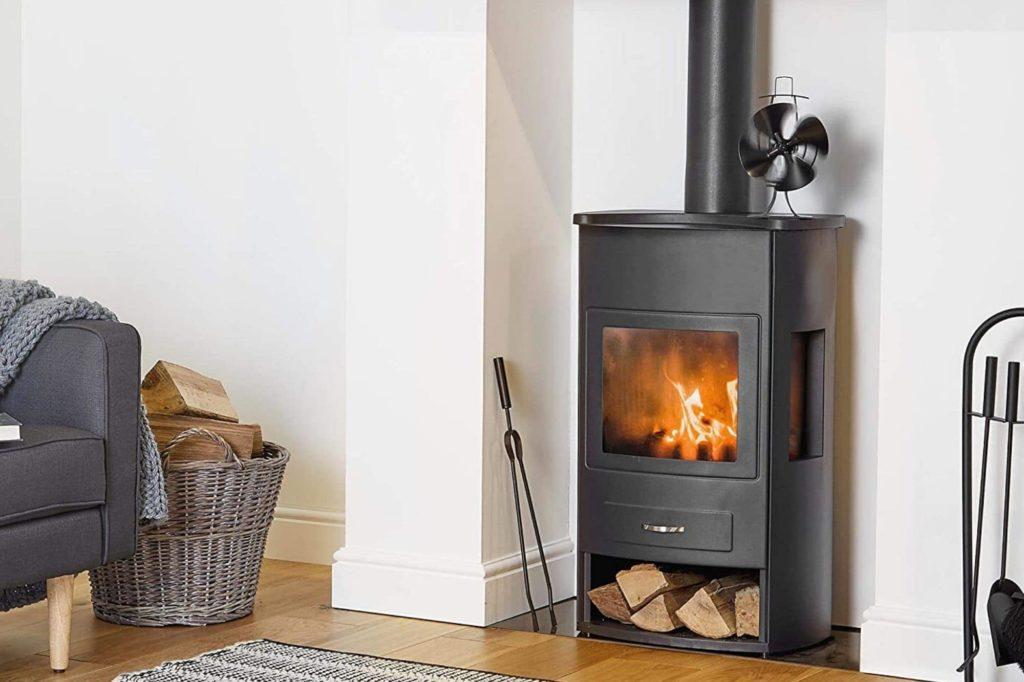log burner with fan in living room