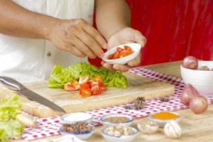Woman doing food prep