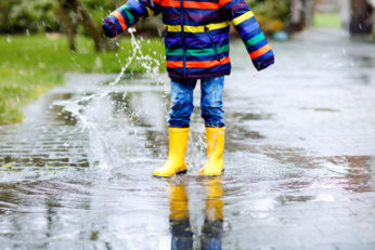 child playing in puddles in wellies