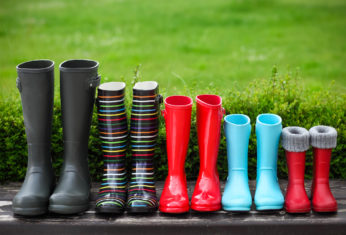 five pairs of wellies