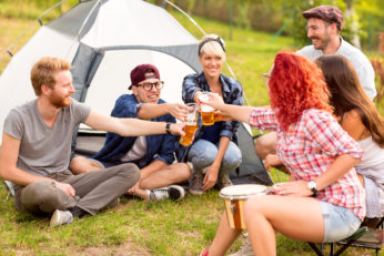 group camping with drinks