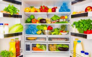 inside of open fridge