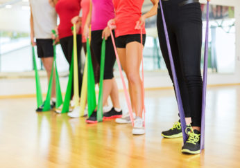 women in exercise class using elastic sets