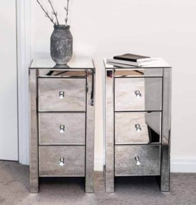 Mirrored with Crystal Handles