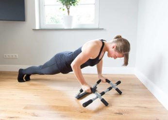 a woman exercising on the floor