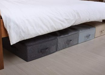 fabric containers underneath the bed