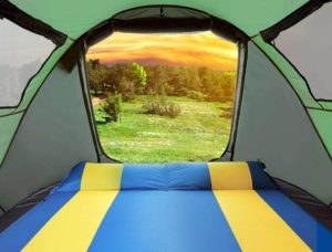 outside view from a camping shelter