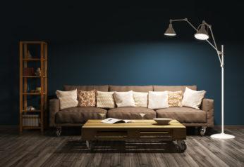 a living room with minimal lighting