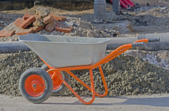 metal cart in a construction site