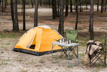 tent and other essentials at camping site