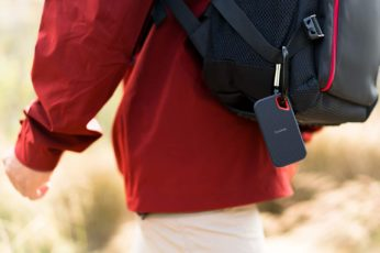 a portable HDD hanging from a backpack