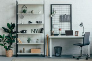 wooden shelves with stuff at home