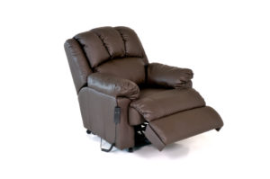 an electric reclining leather seat