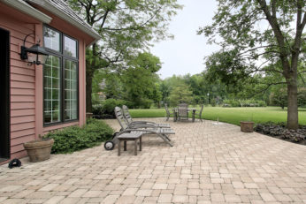 outdoor space paved with brick
